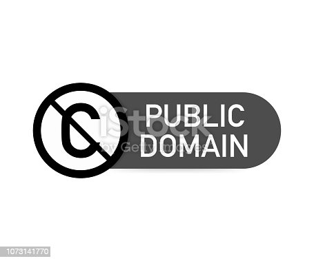 istock Public domain sign with crossed out C letter icon in a circle. Vector illustration. 1073141770
