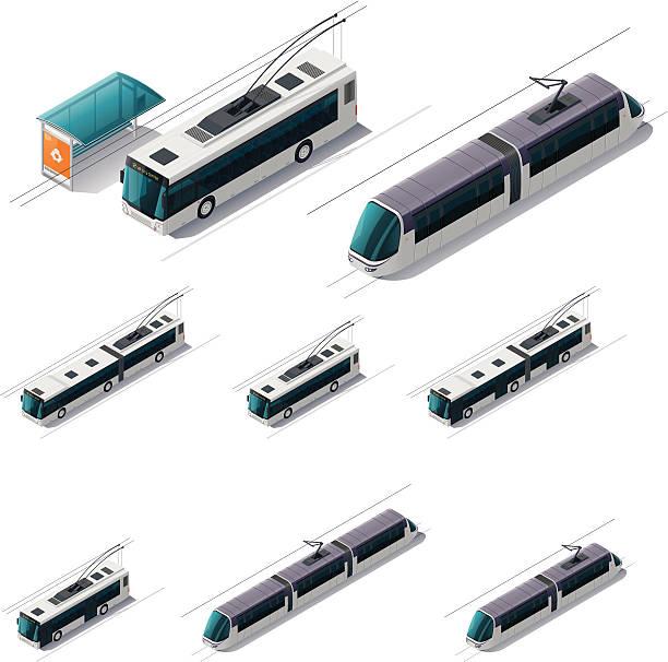 illustrazioni stock, clip art, cartoni animati e icone di tendenza di trasporto pubblico elettrico - linea tranviaria