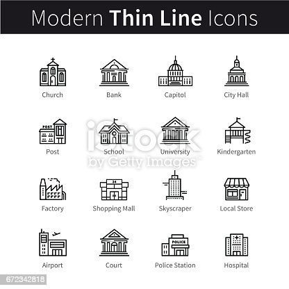Set of public, government and commercial city buildings and institutions. thin black line art icons. Linear style illustrations isolated on white.