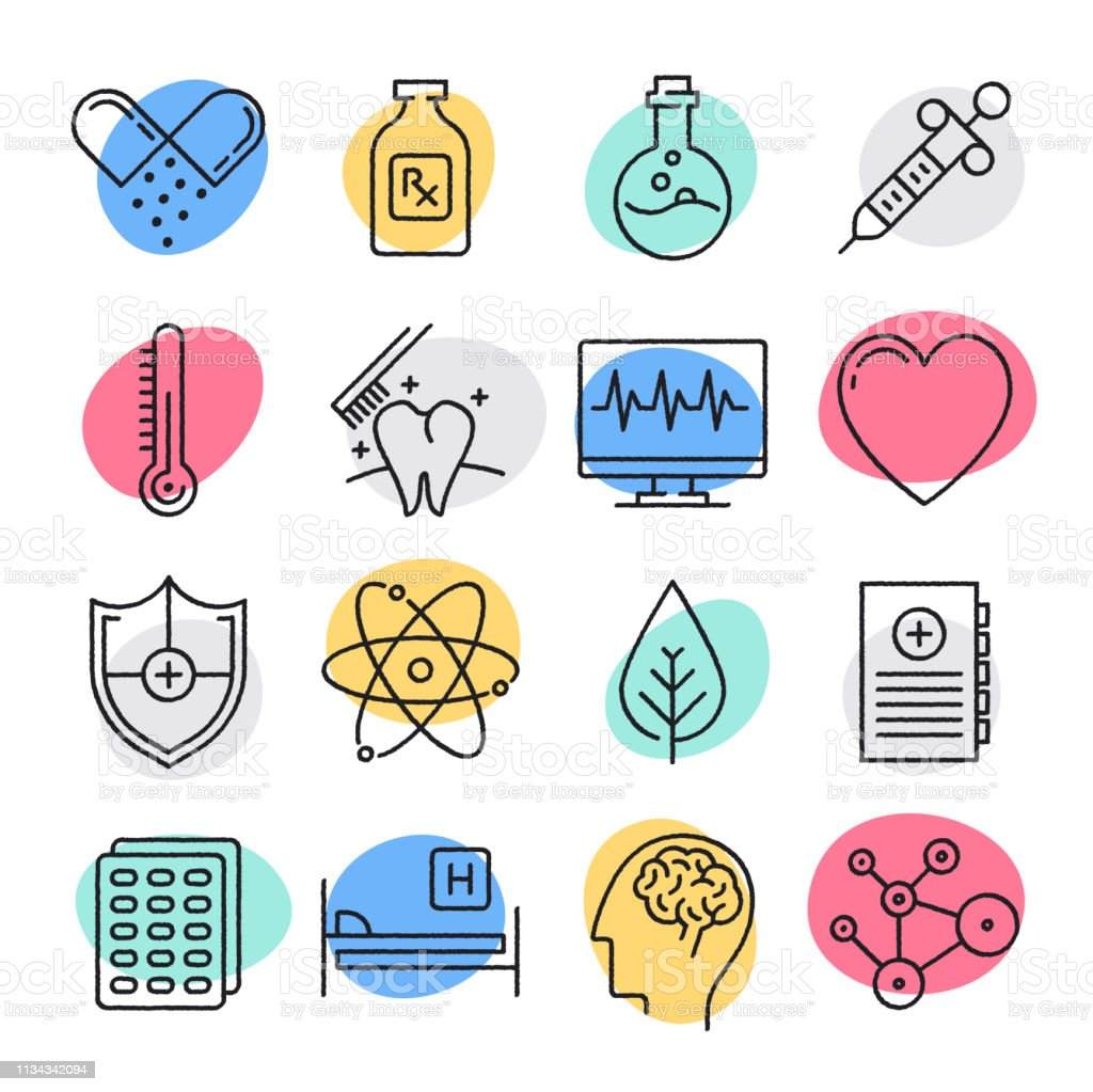 Public Health Challenges Doodle Style Vector Icon Set Stock