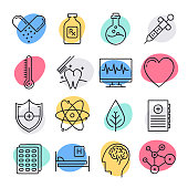 Modern public health challenges doodle style concept outline symbols. Line vector icon sets for infographics and web designs.
