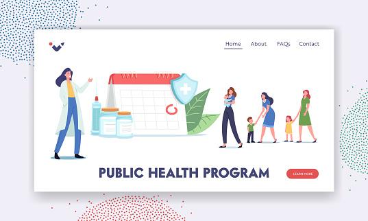 Public Health Program Landing Page Template. Immunization Schedule. Characters Wait for Vaccination at Huge Calendar