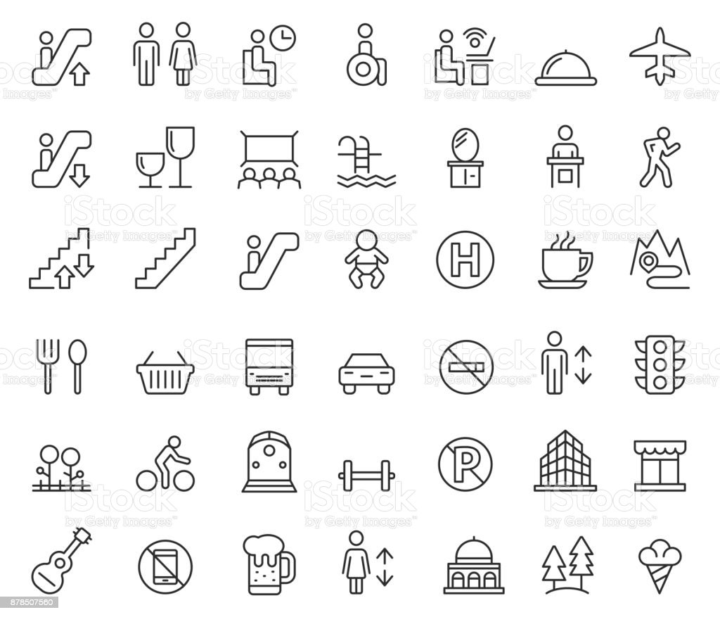 Public icon set vector art illustration