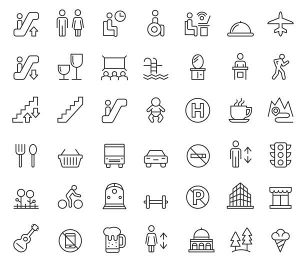 illustrazioni stock, clip art, cartoni animati e icone di tendenza di public icon set - bagno