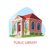 Public library or building for reading. Isometric construction for children knowledge. Exterior view at structure for books or magazine. Architecture panorama and social institution theme