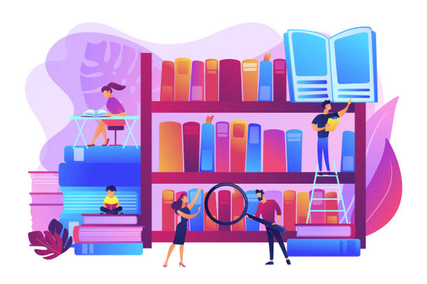 Public library concept vector illustration Reading books, encyclopedias. Students studying, learning. Public library events, free tutoring and workshops, library homework help concept. Bright vibrant violet vector isolated illustration encyclopaedia stock illustrations