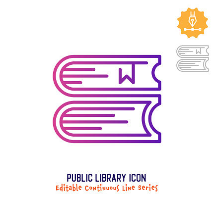 Public Library Continuous Line Editable Icon