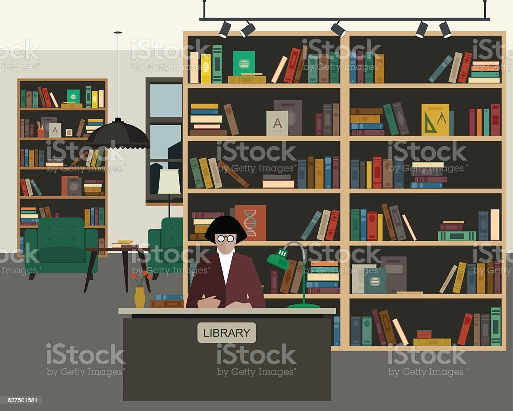 Public library flat interior vector art illustration