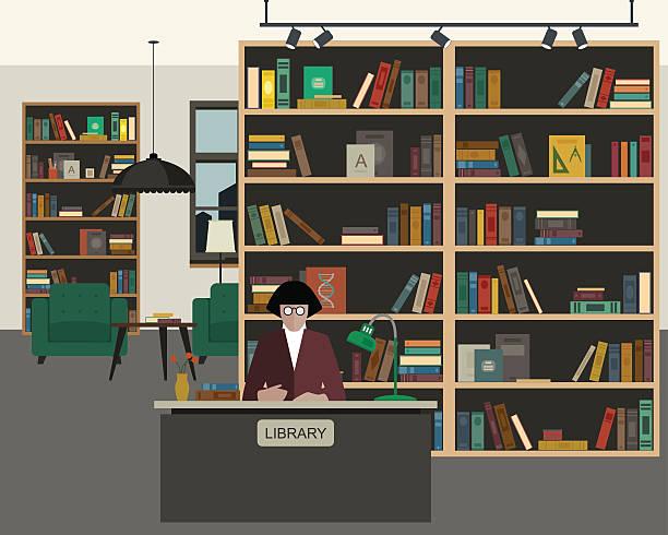 Public library flat interior - ilustración de arte vectorial