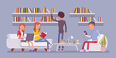 Public library people. Group of young students studying and reading, looking for information, working with books, laptop, phone. Vector flat style cartoon illustration isolated on blue background