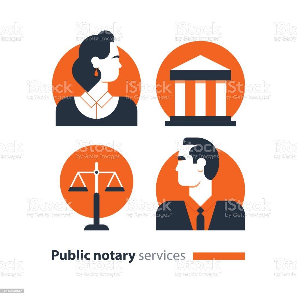 Serviços de notário público lei de conjunto, de ícones homem firme defesa documento de consulta - ilustração de arte em vetor