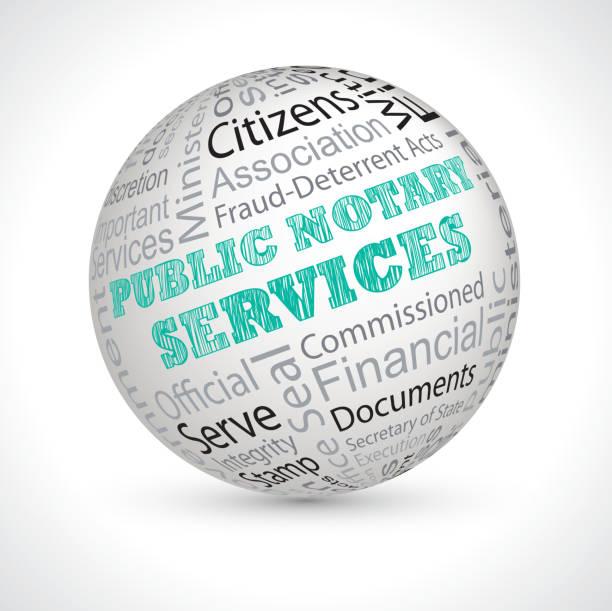 illustrations, cliparts, dessins animés et icônes de public notary services theme sphere with keywords - notaire