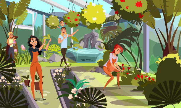 Public orangery flat vector illustration Public orangery flat vector illustration. Young gardeners and parents with kids cartoon characters. Greenhouse tour, family with children on stroll. Botanical garden, plant nursery, flowers growing garden center stock illustrations