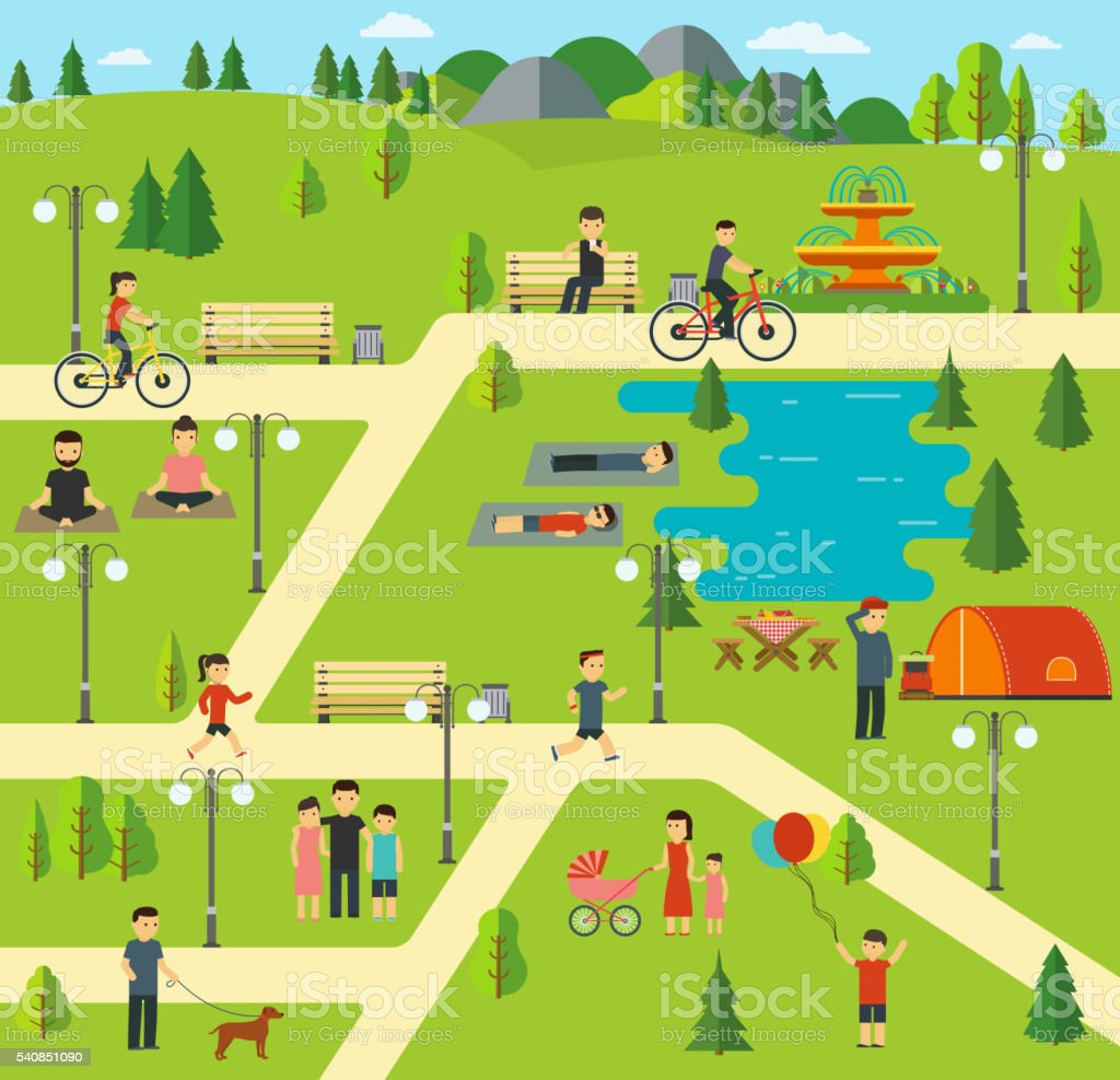 Public park, Camping in the park, picnic, biking vector art illustration