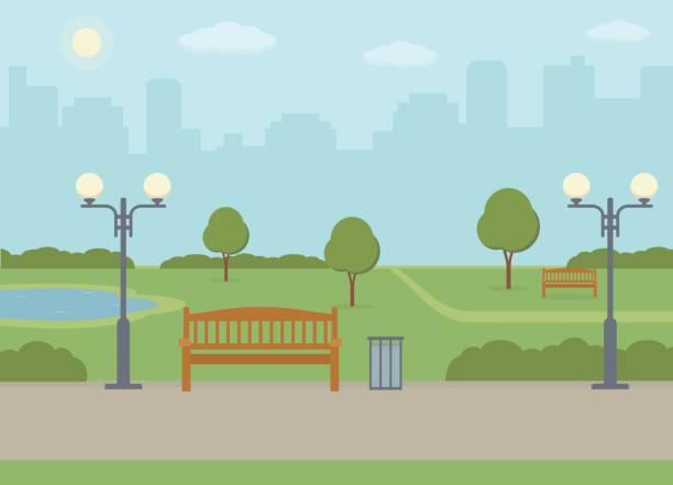 ilustraciones, imágenes clip art, dibujos animados e iconos de stock de parque público en la ciudad. - paisajes de dibujos animados