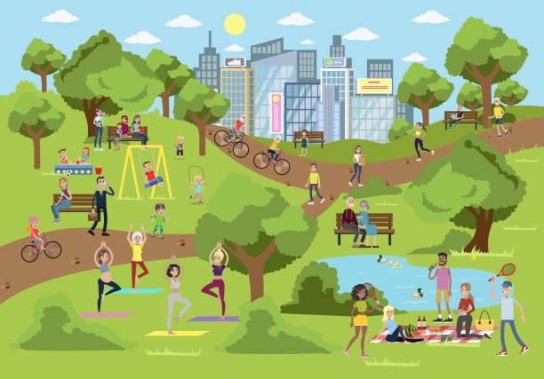 bildbanksillustrationer, clip art samt tecknat material och ikoner med offentlig park i staden. - naturparksområde