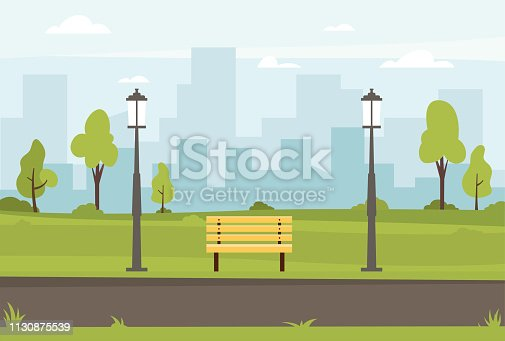Public park vector flat illustration. Spring landscape city park bench in outdoor. Public park outdoor with cityscape background. Vector illustration
