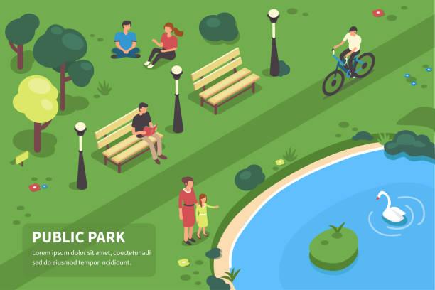 public park vector art illustration