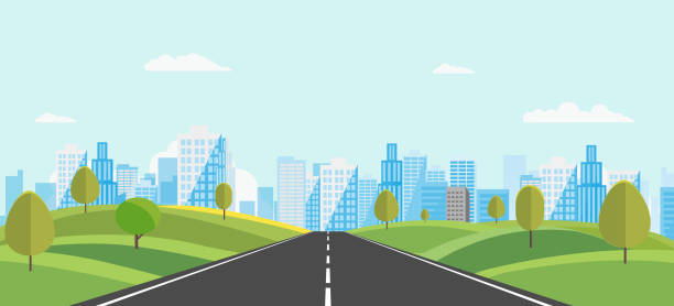 Public park with main street to city and sky background.Beautiful nature scene with town and hill.Vector illustration.Road with urban Public park with main street to city and sky background.Beautiful nature scene with town and hill.Vector illustration.Road with urban.cityscape and nature scene urban road stock illustrations