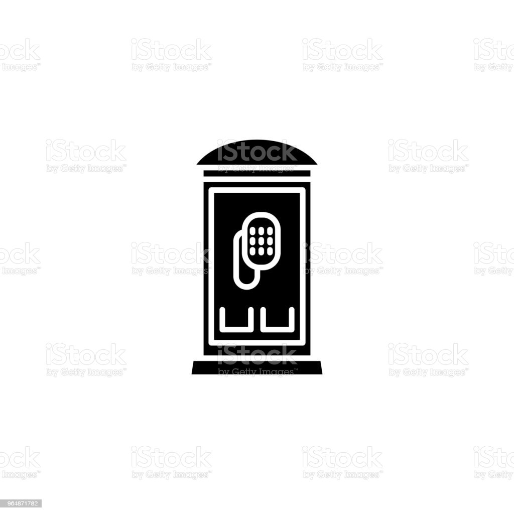 Public phone black icon concept. Public phone flat  vector symbol, sign, illustration. royalty-free public phone black icon concept public phone flat vector symbol sign illustration stock vector art & more images of adult