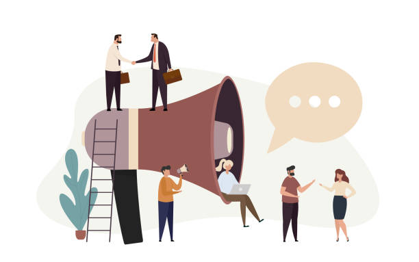 Public relations and business promotion concept. Advertisement marketing. Social media promotion. Team with huge megaphone. vector art illustration