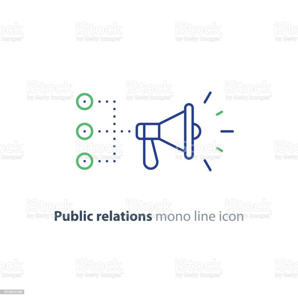 Public relations concept, megaphone line icon, advertising promotion strategy vector art illustration
