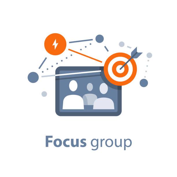 illustrazioni stock, clip art, cartoni animati e icone di tendenza di public relations, focus group, team work, business network - focus group