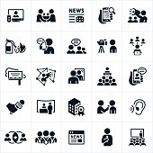 An icon set of public and media relations icons. The icons include press coverage on television, mobile devices and websites. The icons also include news stories, PR strategies, bullhorn, putting out fires, company reviews, communications with the public, social media, billboard advertising, company image, presentations, trade show booth, company award, press interviews, online news and conventions to name a few.