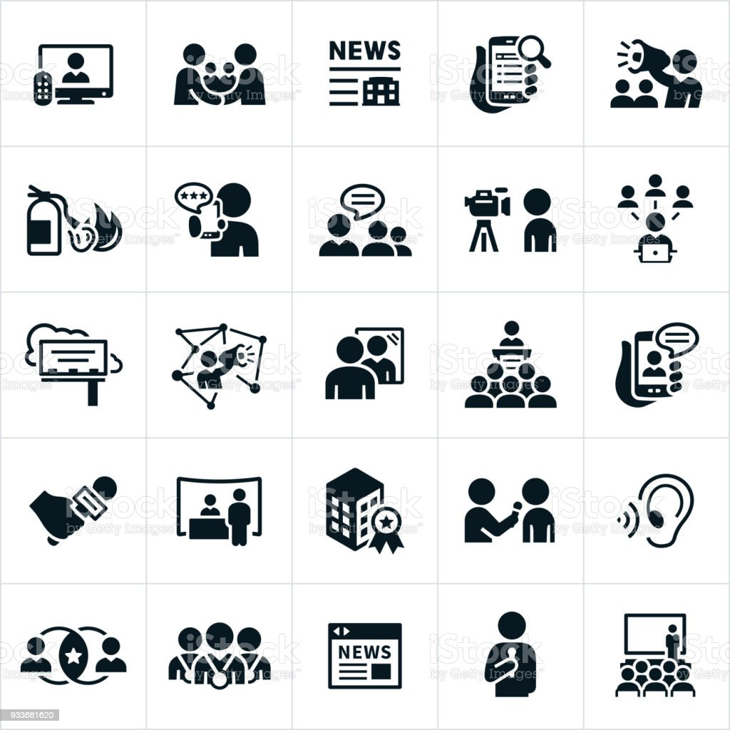 Public Relations Icons vector art illustration