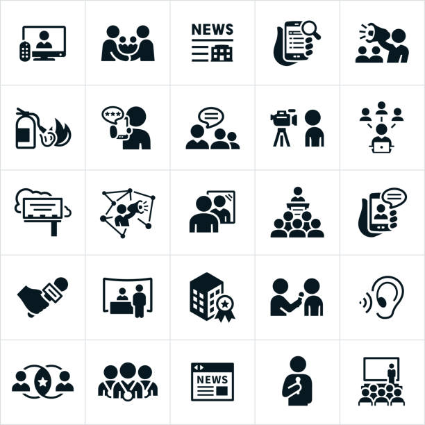 Public Relations Icons An icon set of public and media relations icons. The icons include press coverage on television, mobile devices and websites. The icons also include news stories, PR strategies, bullhorn, putting out fires, company reviews, communications with the public, social media, billboard advertising, company image, presentations, trade show booth, company award, press interviews, online news and conventions to name a few. interview event stock illustrations