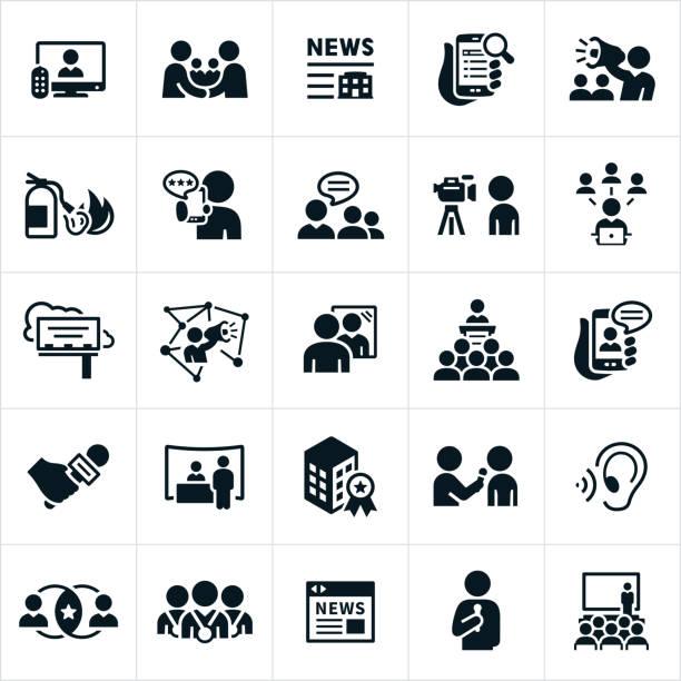 stockillustraties, clipart, cartoons en iconen met public relations pictogrammen - journalist