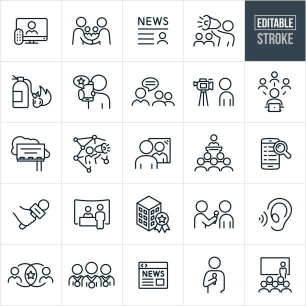 illustrations, cliparts, dessins animés et icônes de relations publiques thin line icons - avc editable - interview