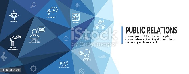 Public Relations Web Header Banner & Icon Set with brand awareness, strategy, and promotion