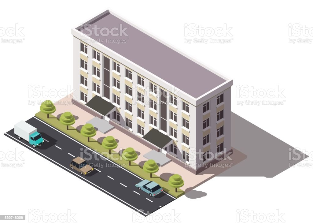 Public Residential Building Isometry. Isometric View Of The House And Cars.  3D Object For