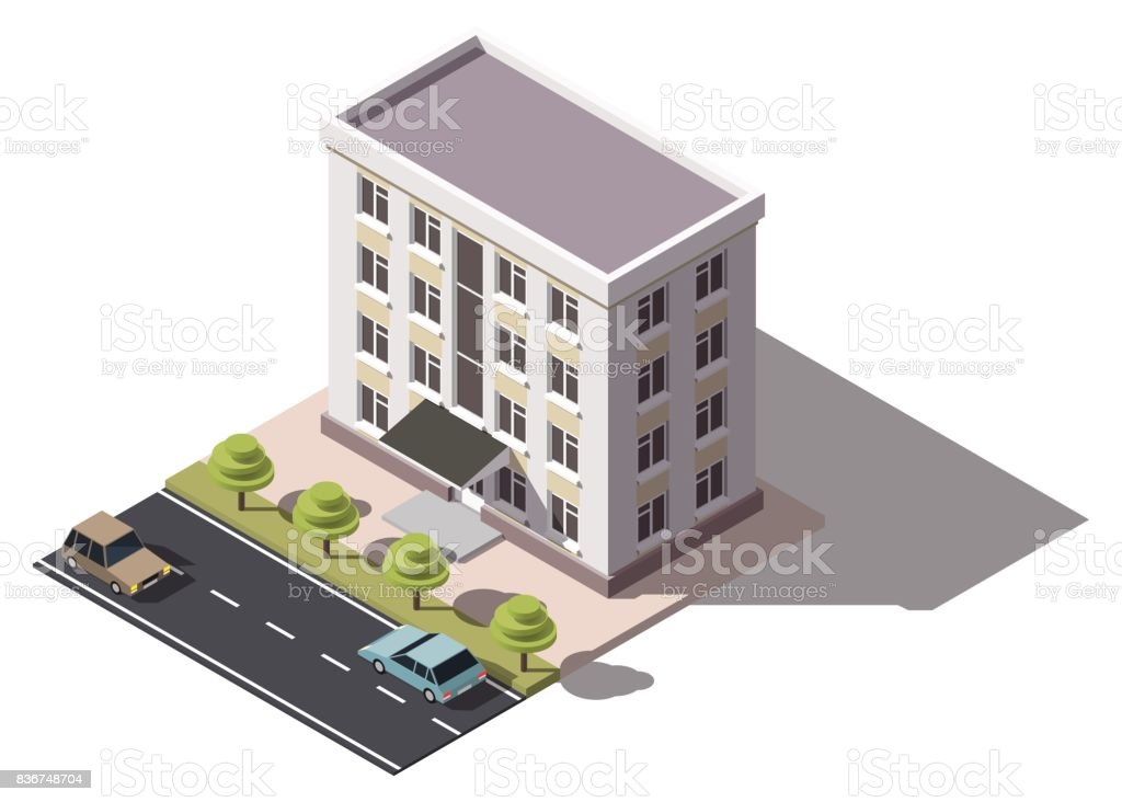 Public Residential Building Isometry Isometric View Of The