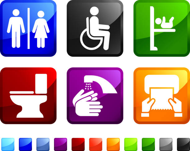 Public Restroom royalty free vector icon set stickers Public Restroom sticker set  portable toilet stock illustrations