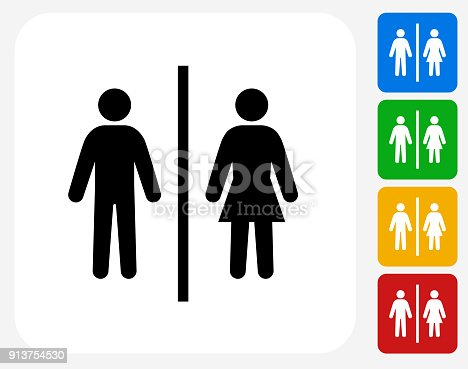 Public Restroom Sign.The icon is black and is placed on a square vector button. The button is flat white color and the background is light. The composition is simple and elegant. The vector icon is the most prominent part if this illustration. There are four alternate button variations on the right side of the image. The alternate colors are red, yellow, green and blue.