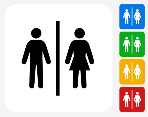 Public Restroom Sign. Public Restroom Sign.The icon is black and is placed on a square vector button. The button is flat white color and the background is light. The composition is simple and elegant. The vector icon is the most prominent part if this illustration. There are four alternate button variations on the right side of the image. The alternate colors are red, yellow, green and blue. bathroom symbols stock illustrations