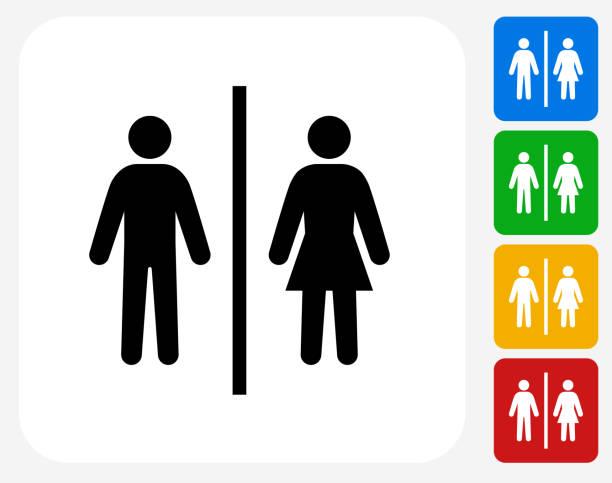 illustrazioni stock, clip art, cartoni animati e icone di tendenza di public restroom sign. - bagno