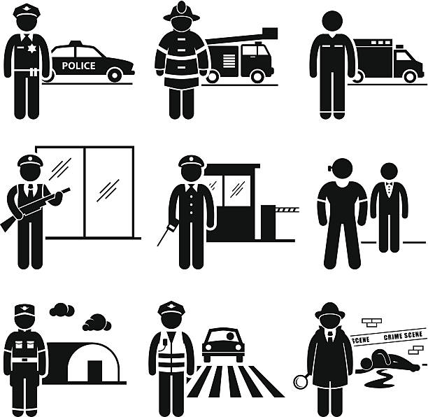 public safety and security jobs occupations careers - police officer stock illustrations, clip art, cartoons, & icons