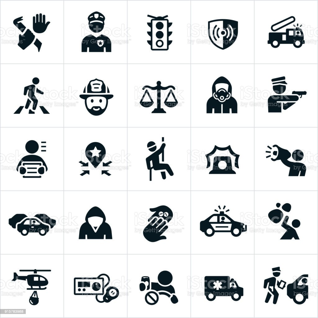 Public Safety Icons vector art illustration