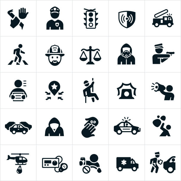public safety icons - police officer stock illustrations, clip art, cartoons, & icons