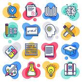 Public school education liquid flat line flow style symbols. Flat line design vector icons set for infographics, mobile and web designs.