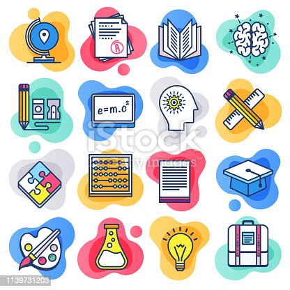 Public school education liquid flat line flow style symbols. Flat line design vector icons set for infographics, mobile and web designs.