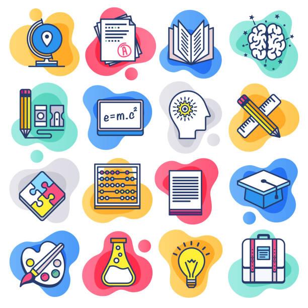 illustrazioni stock, clip art, cartoni animati e icone di tendenza di public school education flat line liquid style vector icon set - scuola