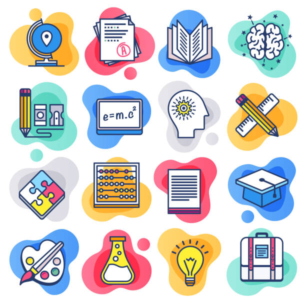 public school education flat line liquid style vector icon set - school stock illustrations