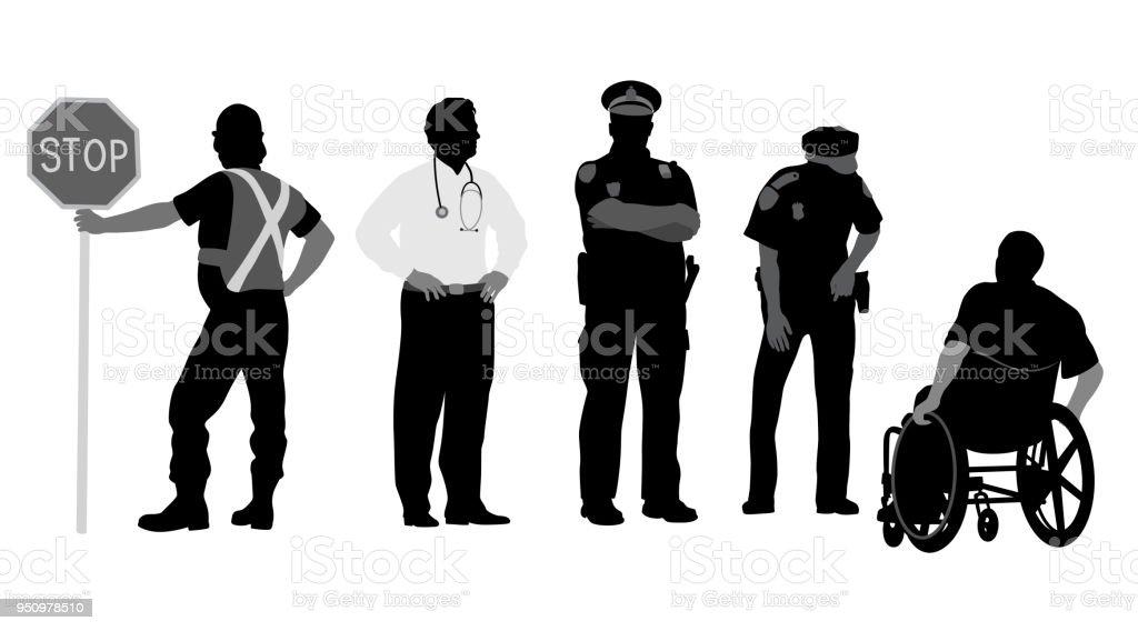 Öffentlichen Dienstes Berufswahl – Vektorgrafik