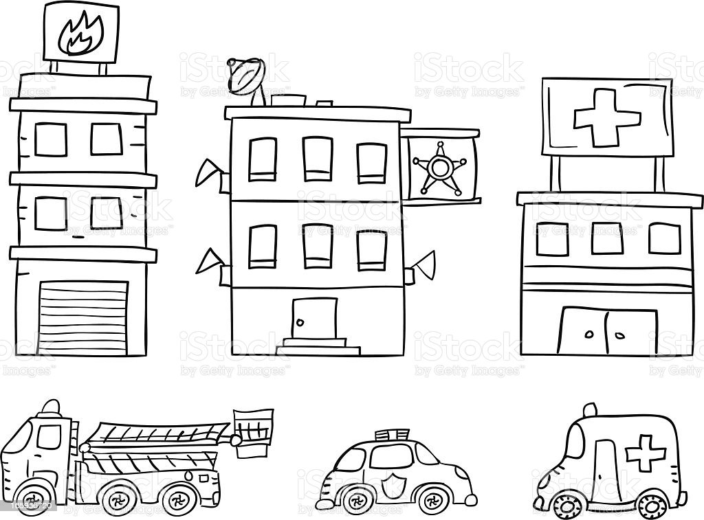 Public service station collection in black and white vector art illustration