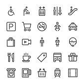 Public & Shopping Mall Icons - MediumX Line Vector EPS File.