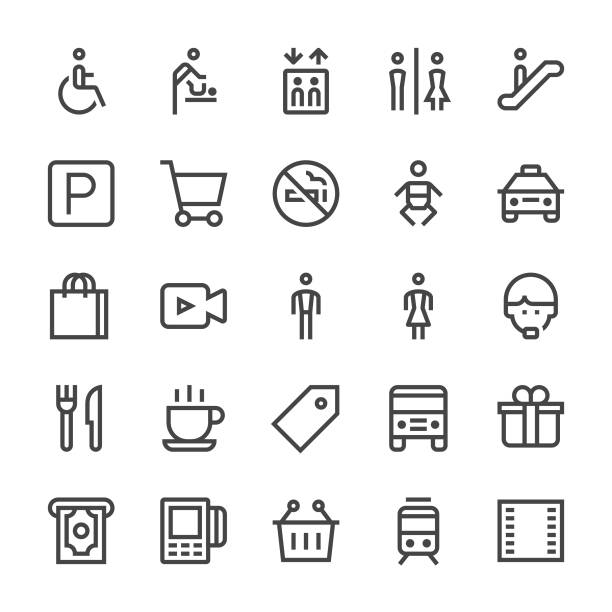 ilustrações, clipart, desenhos animados e ícones de público & compras shopping ícones - linha mediumx - shopping